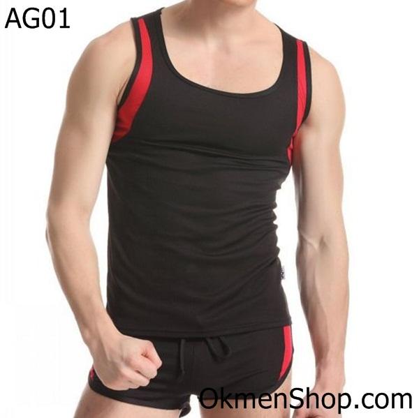 Áo tập gym AG01 màu đen viền đỏ