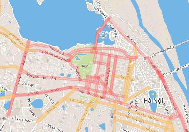 Bản đồ cấm đường ngày 2-9