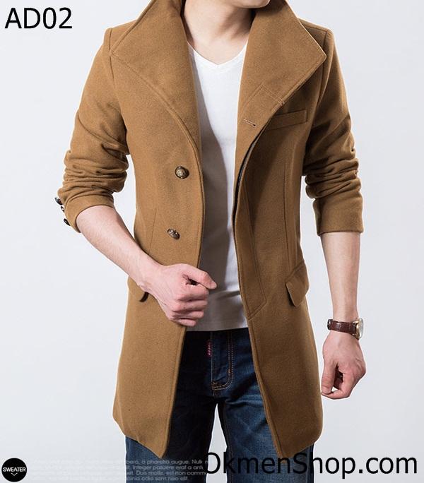 Áo dạ nam đẹp màu nâu