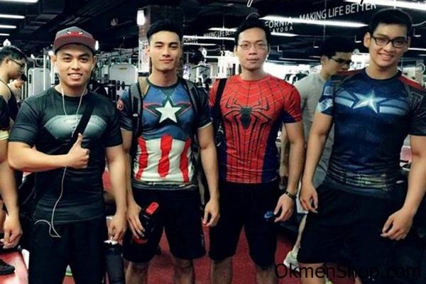Áo tập gym hình siêu nhân