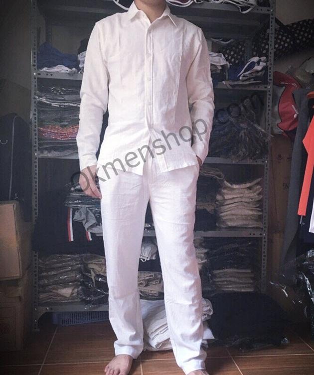 Áo vải đũi màu trắng cổ âu