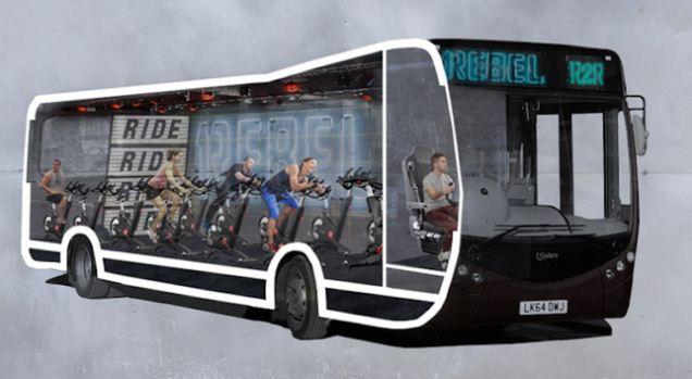 Tập gym trên xe bus