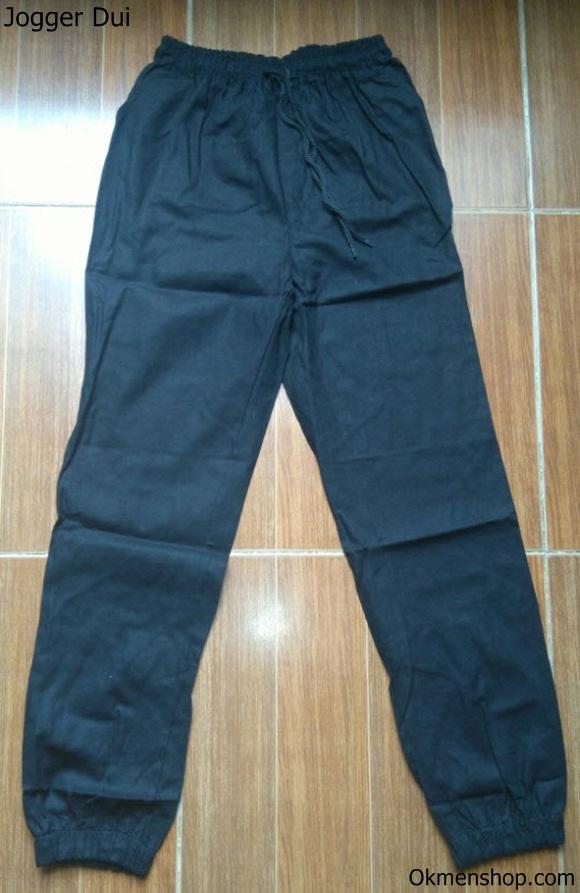 Quần jogger bằng vải đũi màu đen