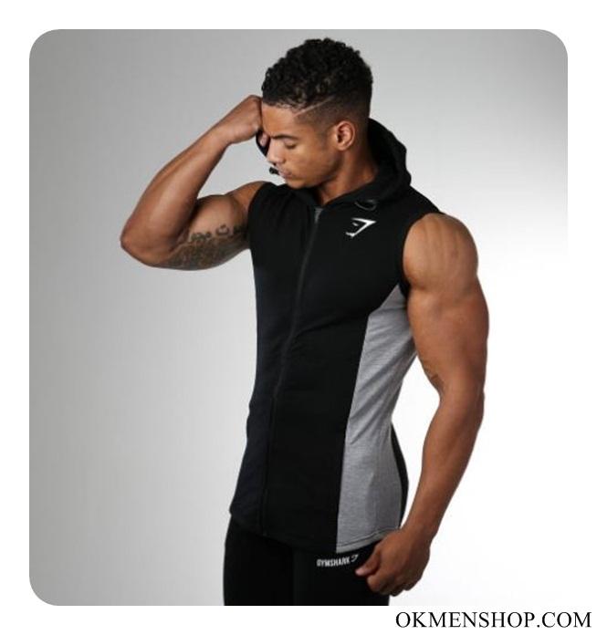 Áo thể hình hoodie Gymshark màu đen