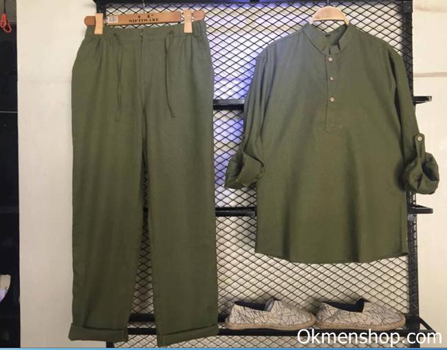 Bộ quần áo đũi nam màu rêu