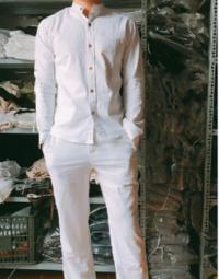 Bộ quần áo đũi màu trắng nam
