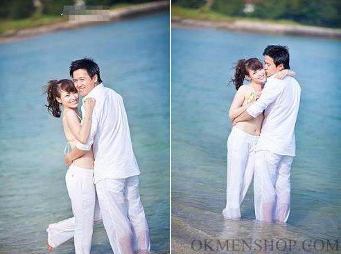 Quần áo trắng chụp ảnh cưới