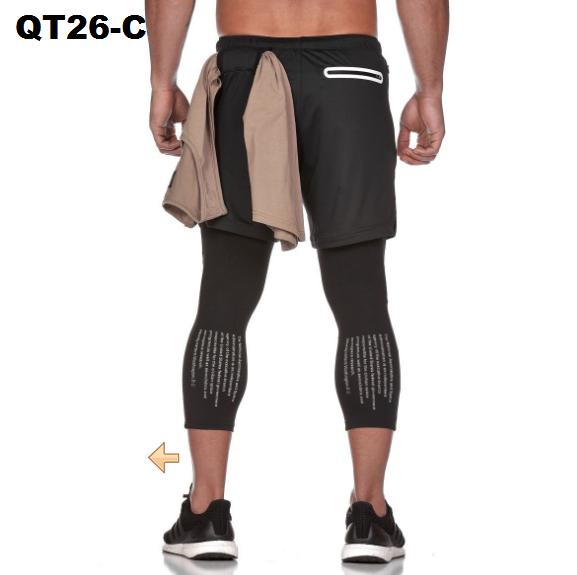 Quần chạy bộ nam 2 lớp dài bắp chân